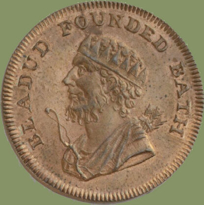 Coin depicting the head of King Bladud